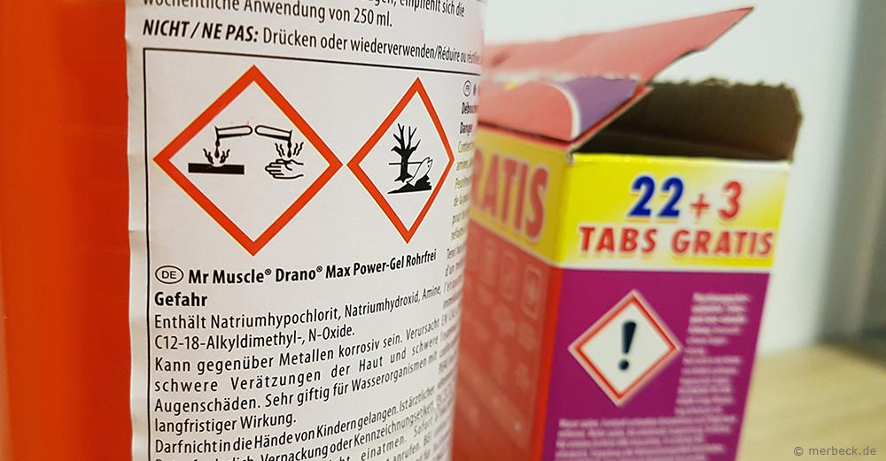 Gefahrensymbole auf Reinigungsmitteln